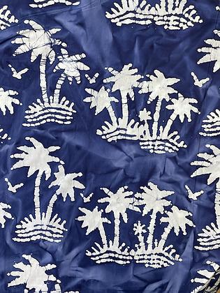 Batik Fabric Navy PalmTree