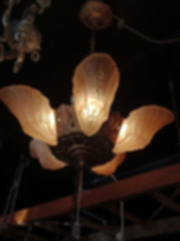 Art Deco 5 Branch Slip Shade Ceiling Lig