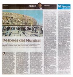 Nota Clarin - Estadios monumentales y problemas sustentables - 2010