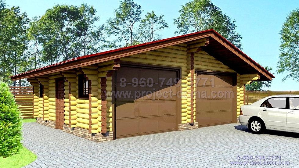П-050 Деревянный гараж на 2 авто
