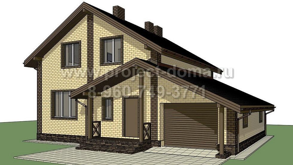 ГП-1552 Жилой дом из газобетона с гаражом 155м2