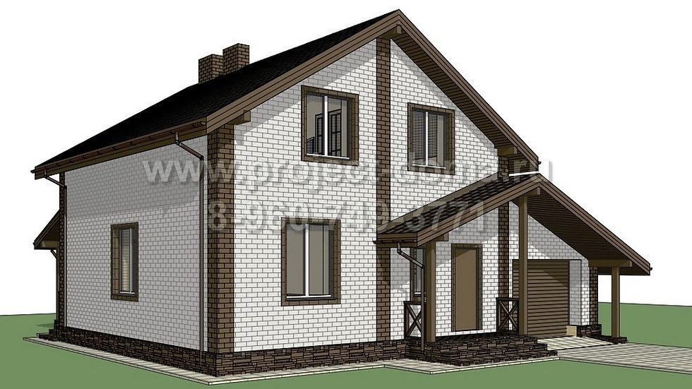 ГП-1542 Жилой дом из газобетона с гаражом 154м2