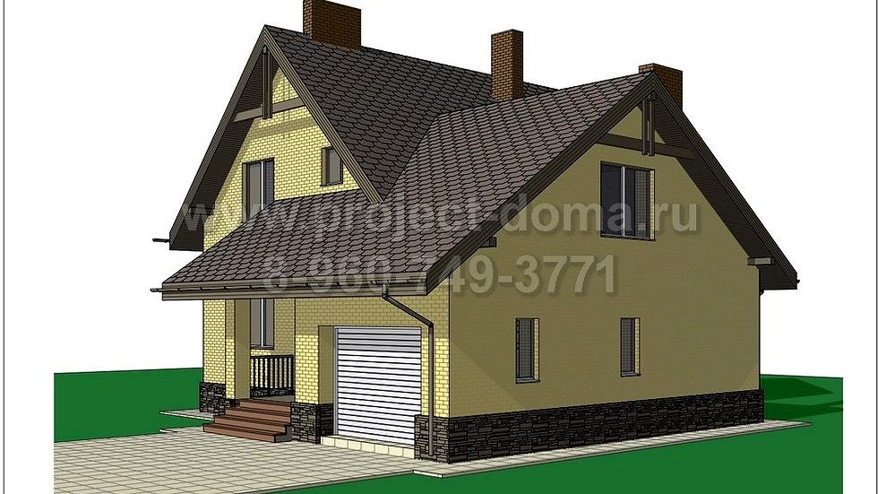 ГП-1652 Жилой дом с гаражом из газобетона 165м2