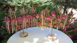 Centre de table sur pied fleurs séchées/