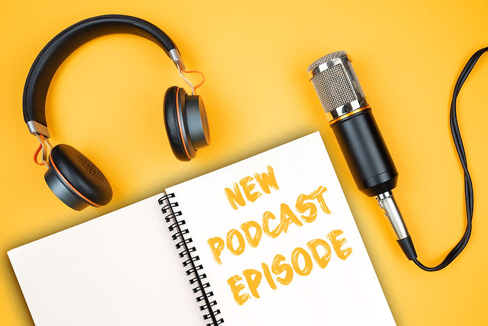 NEW PODCAST EPISODE text on notepad next