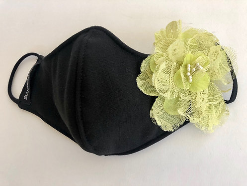 Wholesale Black Mask with single Lime flower