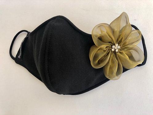 Black Mask with single organza Bronze flower