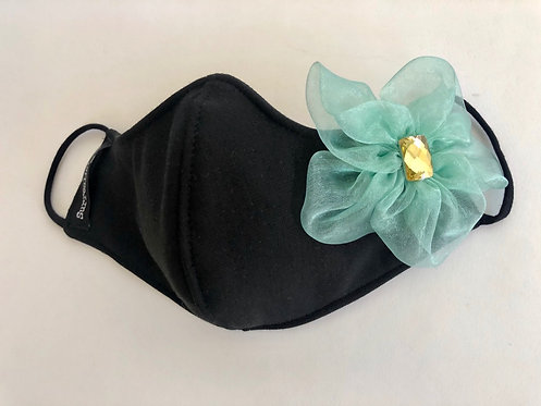 Wholesale Black Mask with Aqua single organza flower