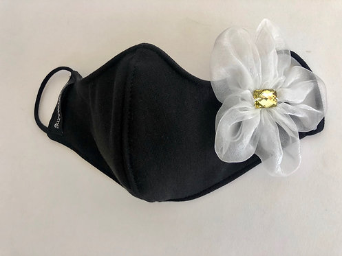Wholesale Black Mask with single White organza flower