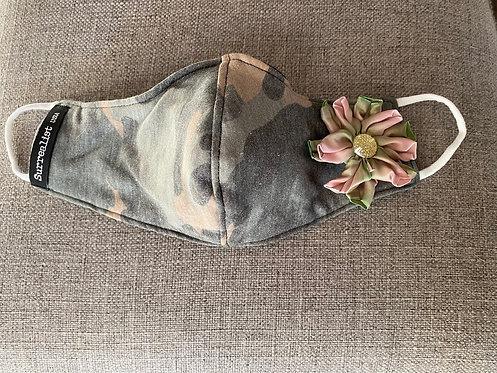 Vintage Camo Mask w/ Flower
