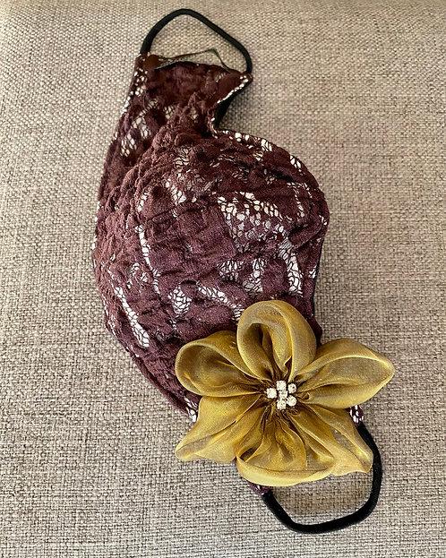 Soft Wine Lace Mask w/ Bronze Flower