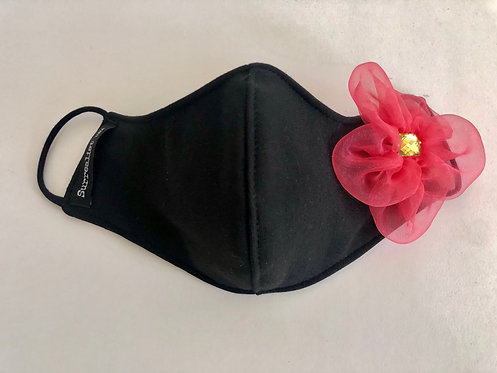 Black Mask with single Coral organza flower