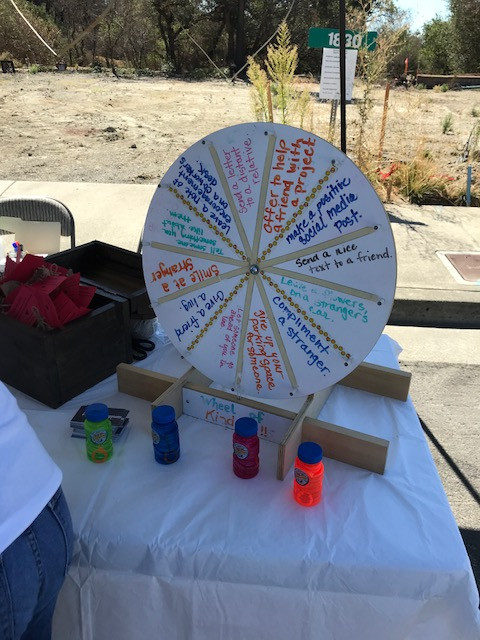 www.heartsforhappiness.com kindness wheel at SCB open house