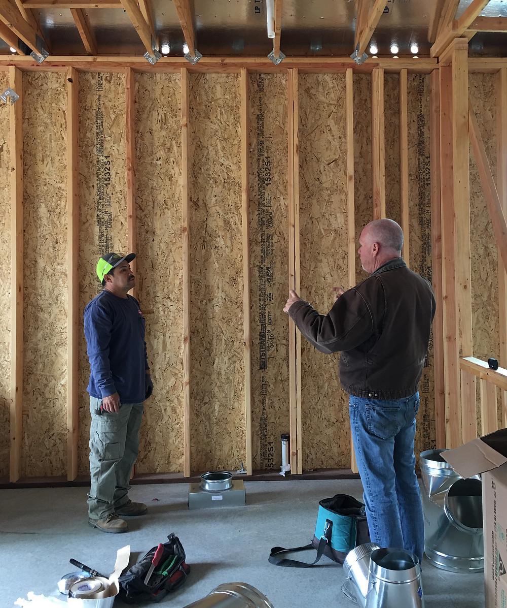 Sonoma County Builders' Bill Keith talks with subcontractor in Fountaingrove in Santa Rosa CA