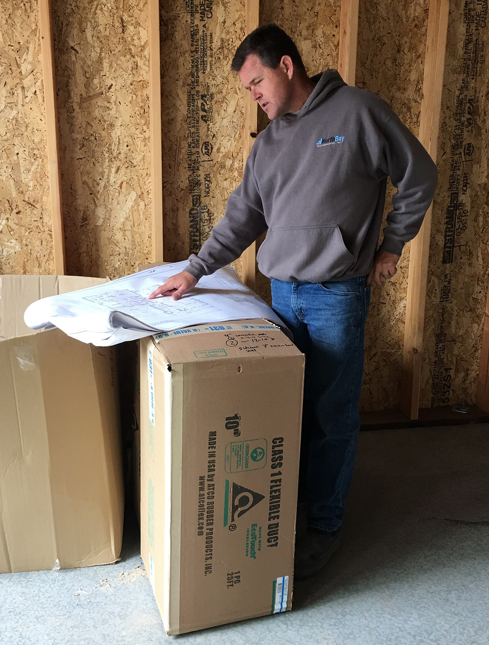 David Keith, President/CEO of Sonoma County Builders reviews plans on project in Fountaingrove in Santa Rosa CA