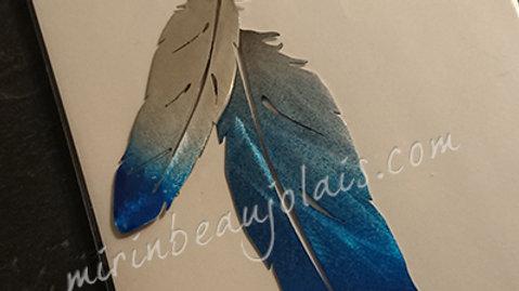 Carte Mobile Duo de plumes bleutées