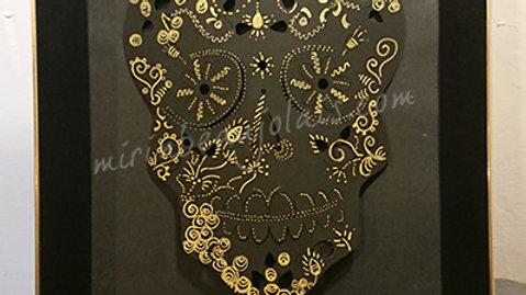 Carte Cadre Skull Crane noir&doré