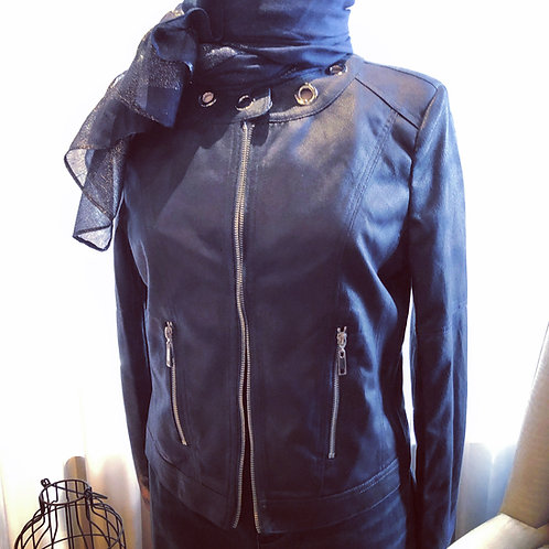 Navy Blue Playful Zipper Faux Leather Jacket