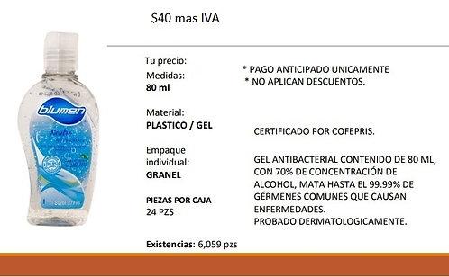 Gel antibacterial contenido de 80 ML con 70% concentración de alcohol