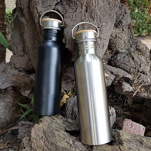 Botella de Acero Tapa Bambú