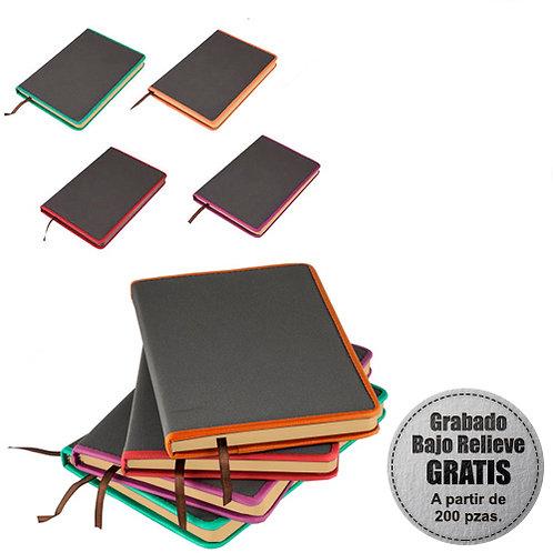 Libreta 21 x 14 cm Gris con Filo de Colores 90 Hojas