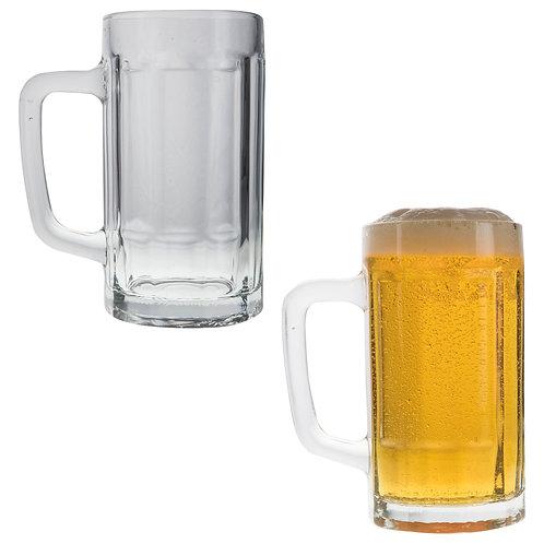 Tarro cervecero de vidrio con asa. Cap. 360ml