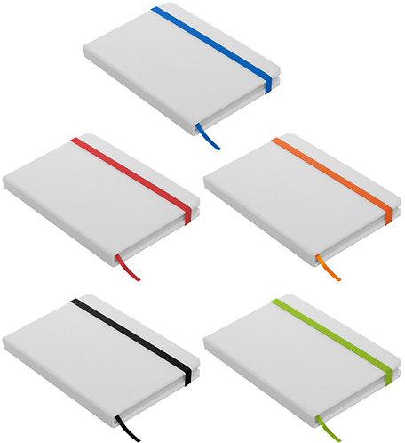 Libreta Blanca 14 x 9 cm con Elástico de Colores