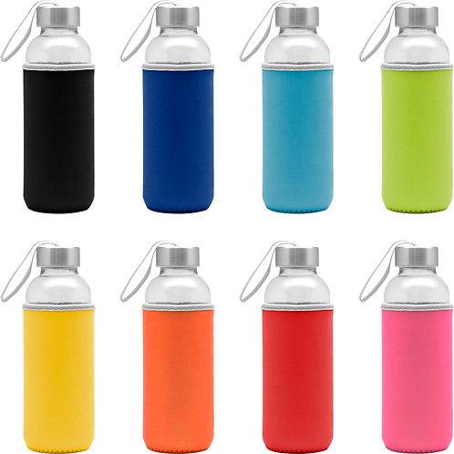 Cilindro vidrio 450 ml con correa y funda de Colores