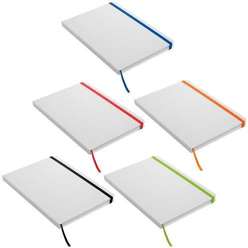 Libreta Blanca 21 x 14 cm con Elástico de Colores
