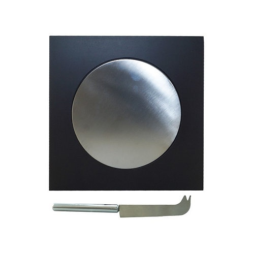 Tabla de madera negra para quesos con base circular metálica y cuchillo de metal