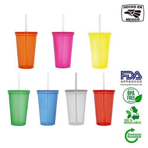 Vaso plastico de Colores con popote