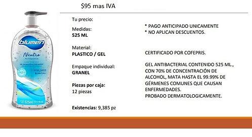 Gel antibacterial contenido 525 ML con 70% concentración de alcohol