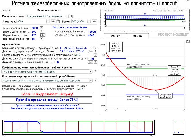 Калькулятор, расчёт железобетонной балки