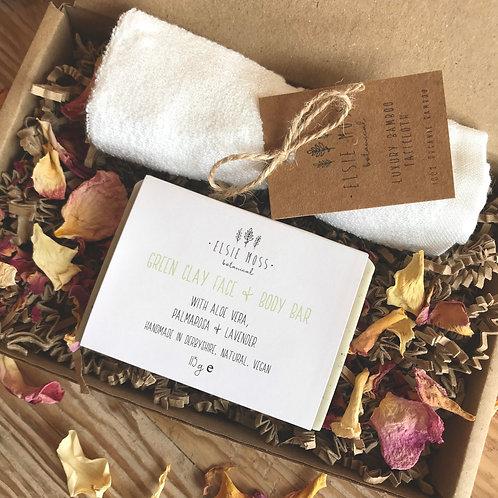 Soap Bar and Organic Bamboo Face Cloth Gift Set