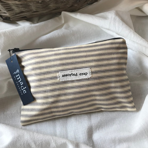 Handmade Cosmetic Pouch - stripes - assorted crap