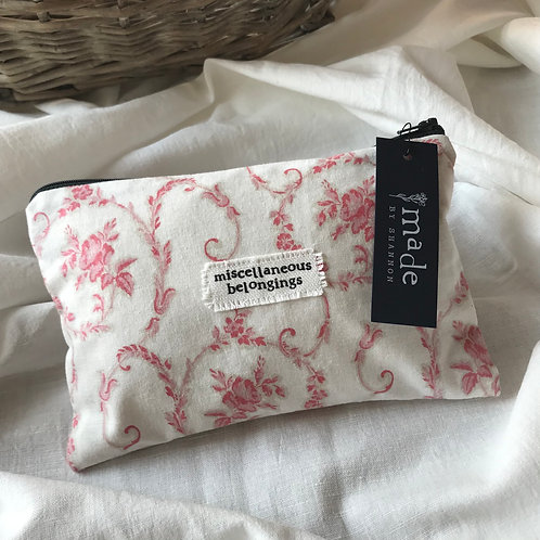 Handmade Cosmetic Pouch - floral - miscellaneous belongings