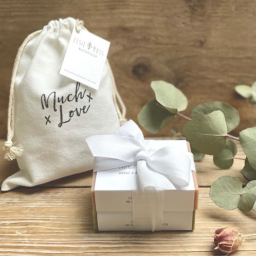 Cotton drawstring 'much love' bag with two soap bars