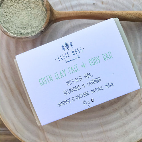 Green Clay Face & Body Bar withAloeVera, Palmarosa and Lavender