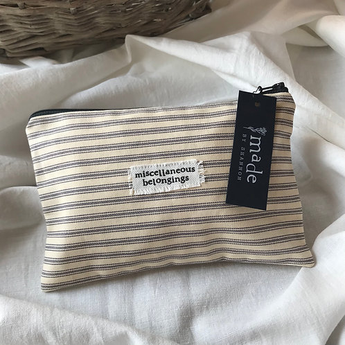 Handmade Cosmetic Pouch - stripes - miscellaneous belongings