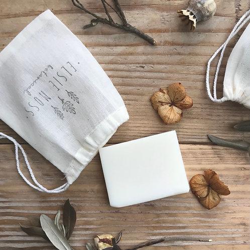 Mini soap bar in a cotton drawstring bag