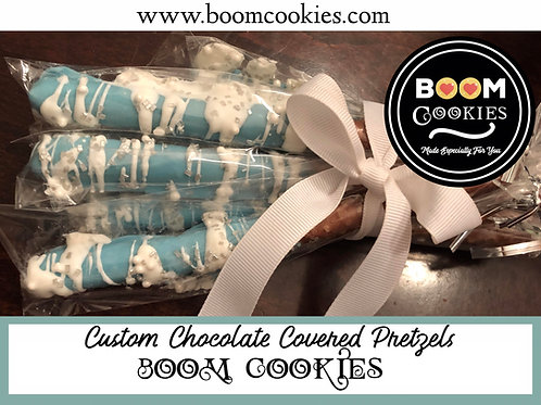 Custom Made Chocolate Covered Pretzels Party Favors, 12 Piece Box