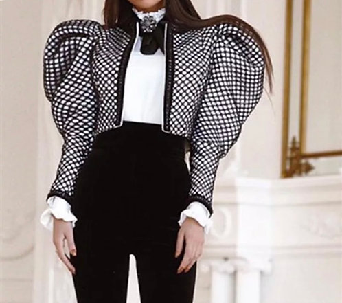 The Bad Girl Jacket, Black and White Puff