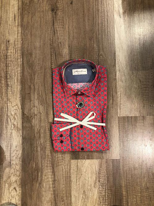 Camicia Rosa Fantasia Rombi Azzurri Slim Fit