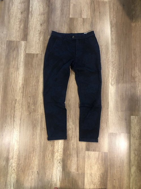 Pantalone Tuta Elegante Distretto 12 Fantasia Fiori Blu Slim Fit