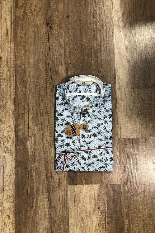 Camicia Maniche Corte fantasia Palme Azzurra