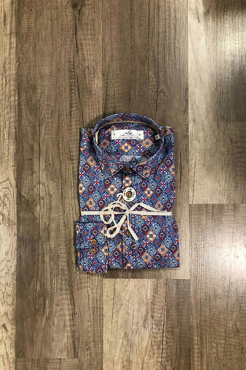 Camicia Fantasia Rombi Fiorati Slim Fit