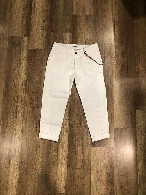 Pantalone Over-D Bianco con Pinces Allungata Slim Fit catena inclusa