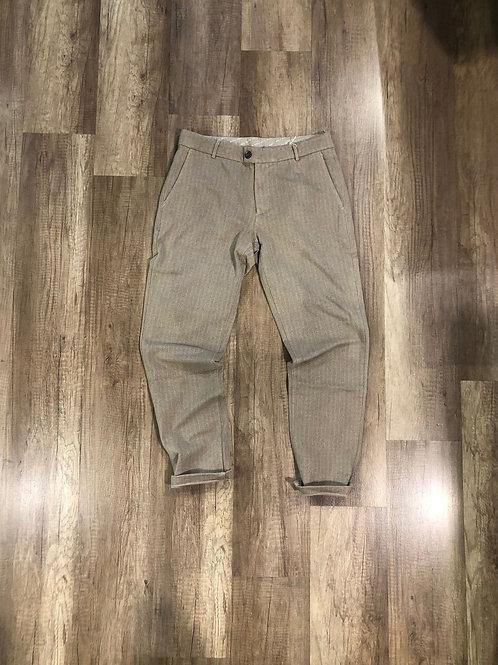 Pantalone Tuta Elegante Distretto 12 Slim Fit Microfantasia Beige