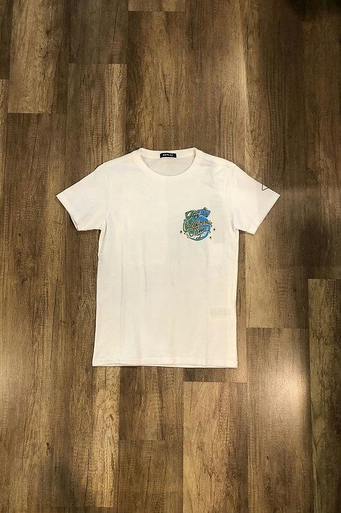 T-shirt Replay Con Stampa California Jam Bianca