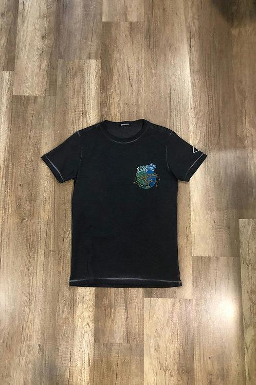 T-shirt Replay Con Stampa California Jam Nera Slavata